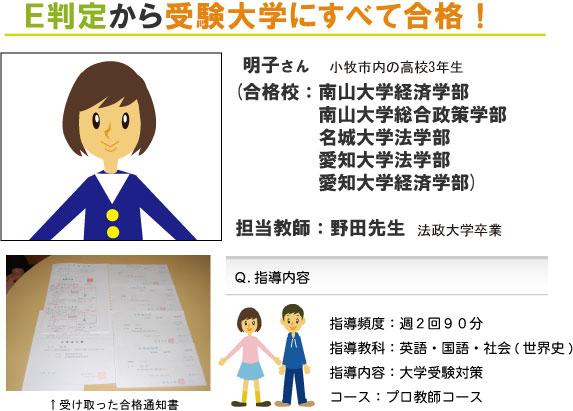 【小牧市 高3】E判定から受験大学すべて合格!
